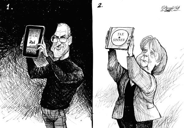 Petar Pismestrovic - Kleine Zeitung, Austria - Inventions Germany - English - Steve Jobs, Aple, Angela Merkel, Swiss, Tax, Sinner, Politic, iPad,