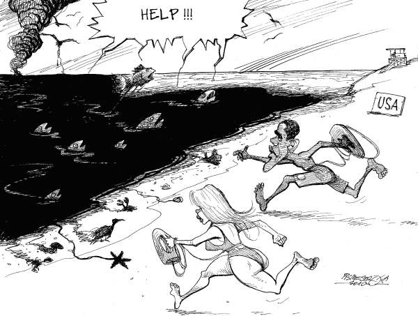 Petar Pismestrovic - Kleine Zeitung, Austria - Baywatch - English - USA, Oil, BP, Obama, Lousiana, Florida, Catastophe, Disaster