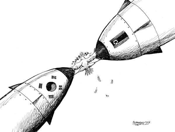 Petar Pismestrovic - Kleine Zeitung, Austria - Peace anda Bombs - English - NKorea, S Korea, USA, Bombs,Obama, Kim Jong Il, War, Communism, Capitalism, peace dove, war