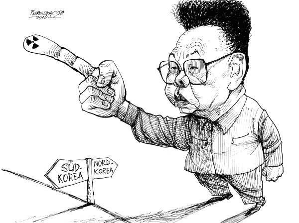 Petar Pismestrovic - Kleine Zeitung, Austria - Kim Jong Il - Treat - English - Kim Jong Il, N Korea, S Korea, USA, War, Nuclear Weapon, China, Asia, Conflict, missiles, war, threat