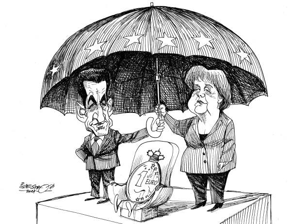 Petar Pismestrovic - Kleine Zeitung, Austria - Sarkosy and Merkel Protect the Euro - English - Nicolas Sarkozy, Angela Merkel, France, Germany, EU, Euro, Finacial Crisis, Portugal, Greece, Ireland, Island