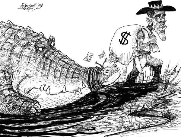 Petar Pismestrovic - Kleine Zeitung, Austria - Crocodile Dundee - English - Barack Obama, Debt, Dollar, Money, Crisis, USA, , crocodile Dundee, economy