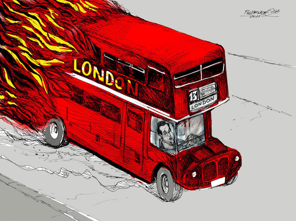 Petar Pismestrovic - Kleine Zeitung, Austria - Streets of London Color - English - Great Britain, David Cameron, Lindos, Protest, Crisis, EU,looting, fires, riots, bus