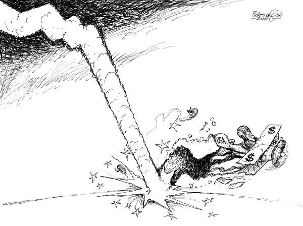 Petar Pismestrovic - Kleine Zeitung, Austria - Landed - English - Barack Obama, USA, Dollar, Money, Crisis, Bailouts