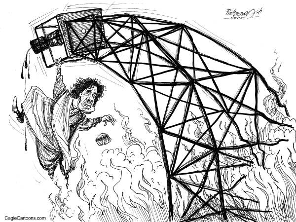 Petar Pismestrovic - Kleine Zeitung, Austria - Oil Tower - English - Gaddafi, Lybia, Revolution, Waer, NATO, EU, USA, Sarkozy, Obama