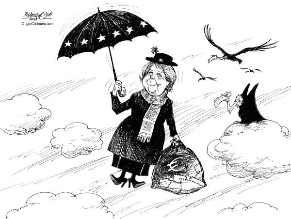 Petar Pismestrovic - Kleine Zeitung, Austria - Angie Poppins - English - Angela Merkel, Germany, EU, Euro, Europe, Crisis, Financial, Greece