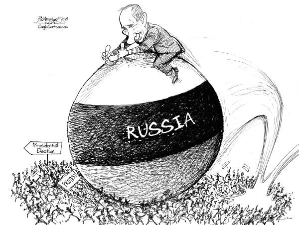 Petar Pismestrovic - Kleine Zeitung, Austria - Ball Rider - English - Vladimir Putin, Russia, Presidential Election President, World, USA, EU