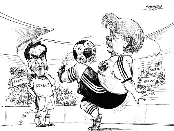 Petar Pismestrovic - Kleine Zeitung, Austria - Juggler - English - Angela Merkel, Antonis Samaras, Greece, Germany, Soccer, Politic, Crisis