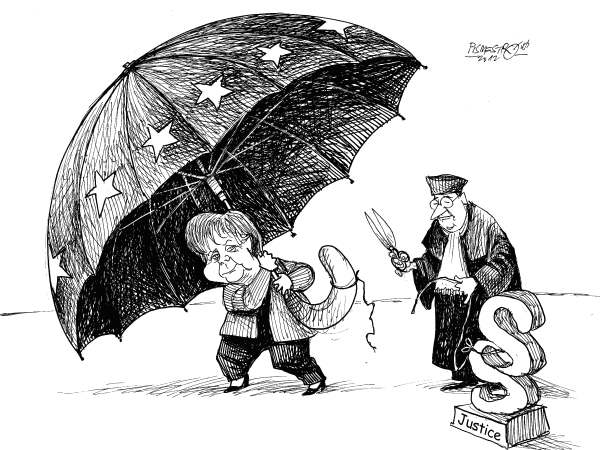Petar Pismestrovic - Kleine Zeitung, Austria - Free - English - Germany, Angela Merkel, Jusice, Politic, Rescue Umbrella, EU; Euro