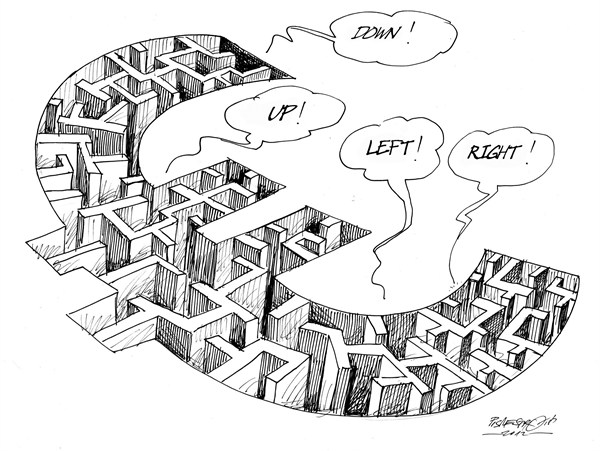 Petar Pismestrovic - Kleine Zeitung, Austria - Labyrinth - English - EURO,EU,Europe,Crisis,Money,Banks,Politic