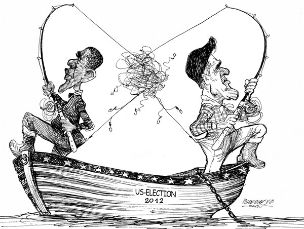 Petar Pismestrovic - Kleine Zeitung, Austria - Fisherman - English - Barack Obama, Mitt Romney, Election, President, Democrats, Republicans, USA