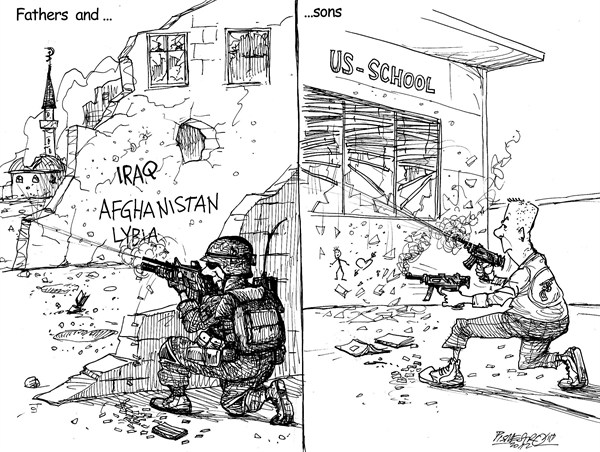 Petar Pismestrovic - Kleine Zeitung, Austria - Amercan Tragedy - English - Gun, War, Military, People, School, Tragedy, USA, Politic, World, Afghanistan, Iraq, Lybia