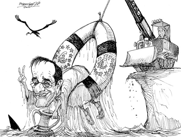 Petar Pismestrovic - Kleine Zeitung, Austria - Saved - English - Antonis Samaras, Greece, EU, Angela Merkel, Germany, Euro, Europe, Crisis
