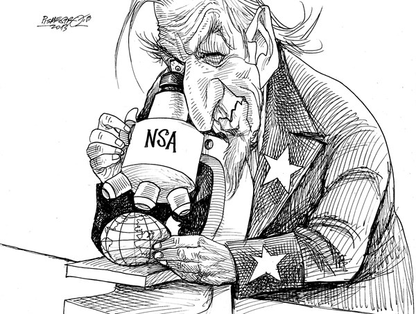 Petar Pismestrovic - Kleine Zeitung, Austria - Under microscop - English - USA, NSA, CIA,  Barack Obama,Intelligence service,World,War,Terror,USA,,NSA Snooping