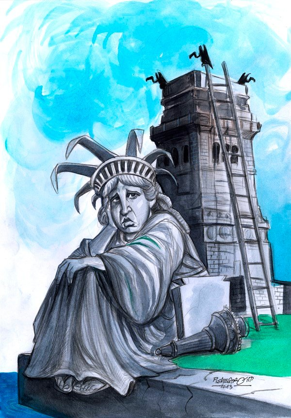 Unemployment © Petar Pismestrovic,Kleine Zeitung, Austria,Statue of Liberty, USA, Budget, Congress, Capitol, Obama, Crisis, Money