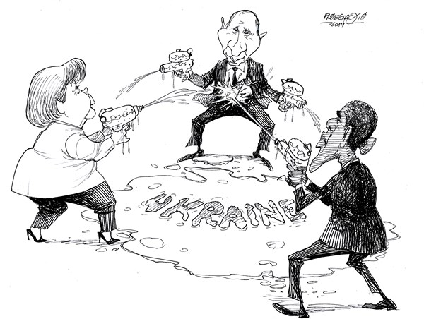 Petar Pismestrovic - Kleine Zeitung, Austria - Water Game - English - Angela Merkel, Vladimir Putin, Barack Obama, Ukraine, Russia, EU, Europe