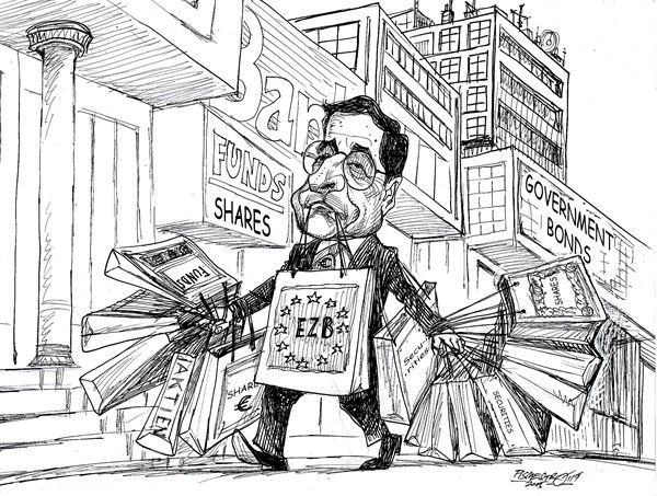 Mario Draghi in Shopping tour © Petar Pismestrovic,Kleine Zeitung, Austria,Mario Draghi, EZB, EU, Europe, Euro, Money, Crisis, Politic