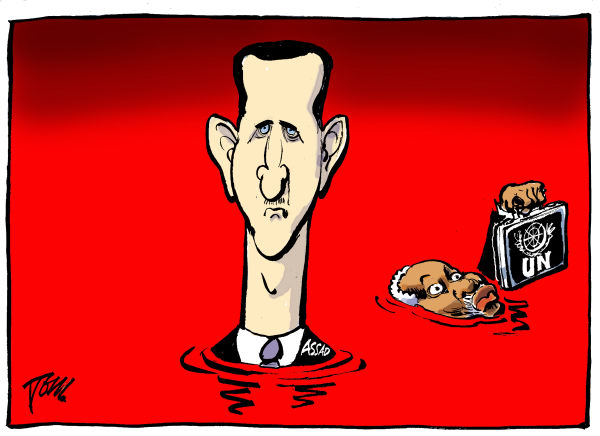Assad and UNO © Tom Janssen,The Netherlands,Assad and UN, Syria and UN, bloodbath Syria and UNO,