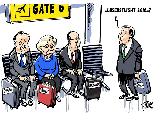 Tom Janssen - The Netherlands - losersflight 2016 - English - Cameron, Hillary, Hollande, Renzi, defeat,