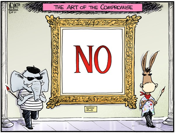 The Art of Compromise © Chris Weyant,The Hill,		republican,democrat,compromise,government,art,gridlock