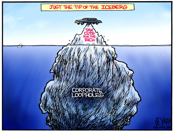 Tip of the Iceberg © Chris Weyant,The Hill,tax cuts, deficit, loopholes, corporate, tax breaks, tax code, budget, Obama, Congress, Democrats, Republicans, debt,