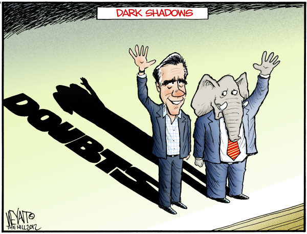 Shadow of Doubt © Chris Weyant,The Hill,Mitt Romney, Super Tuesday, primaries, primary, GOP, Republican, candidate, moderate, Santorum, president, 2012, shadow, doubt, doubts