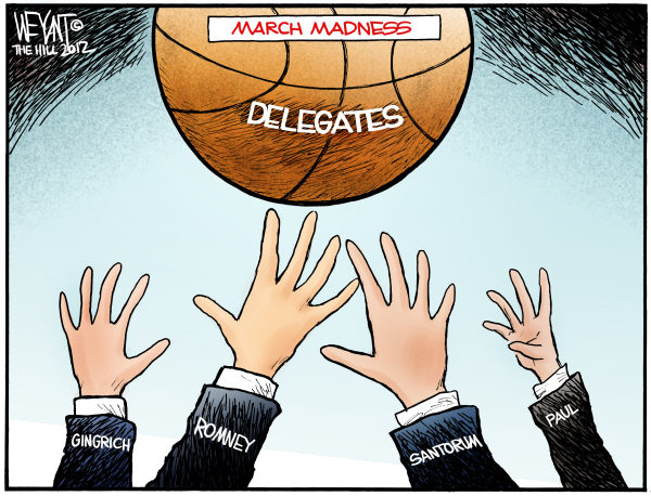 March Madness © Chris Weyant,The Hill,GOP, Republican, candidates, 2012, Santorum, Romney, Paul, Gingrich, primary, primaries, basketball, jump ball, march madness, NCAA, delegates, convention, race, brokered