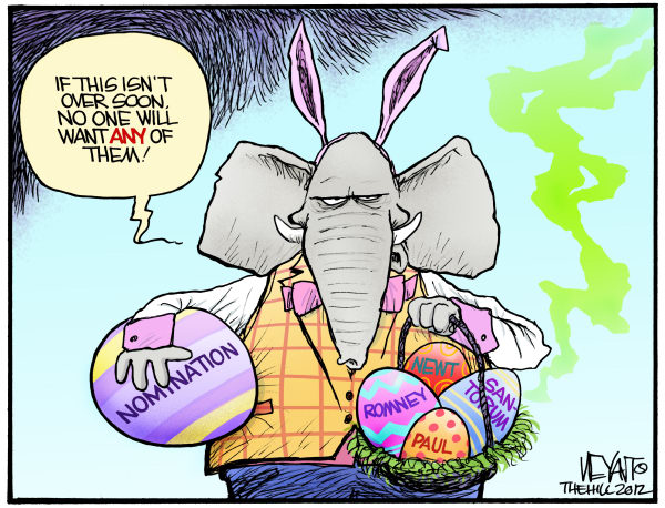 Rotten Eggs © Chris Weyant,The Hill,Mitt Romney, Rick Santorum, Newt Gingrich, Ron Paul, GOP, Republican, 2012, primaries, primary, race, president, White House, Easter, bunny, eggs, rotten, campaign, nominee, nomination, delegates
