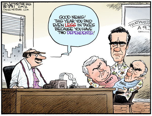 Christopher Weyant - The Hill - Romneys Lil Dependents - English - Mitt Romney, dependents, taxes, tax cuts, 1, Newt Gingrich, Ron Paul, primary, primaries, April, accountant, race, campaign, 2012, GOP, Republican