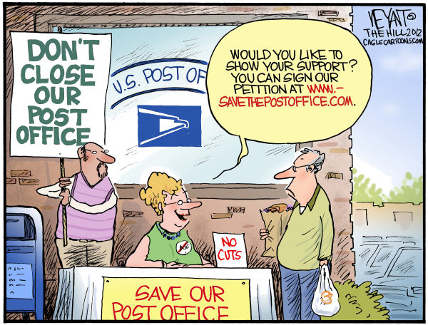 Christopher Weyant - The Hill - Saving The Post Office - English - Post Office, cuts, internet, protest, Obama, government, mail, mailman, postal carrier, closings, reduction, web, online, Congress