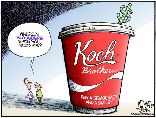Christopher Weyant - The Hill - Koch Brothers Big Gulp - English - Koch brothers, big gulp, Bloomberg, Wisconsin, recall, election, campaign, donation, funding, money, campaign finance, democracy, sugar, drinks, soda, coca-cola, coke, Scott Walker, Tom Barrett, super PAC,