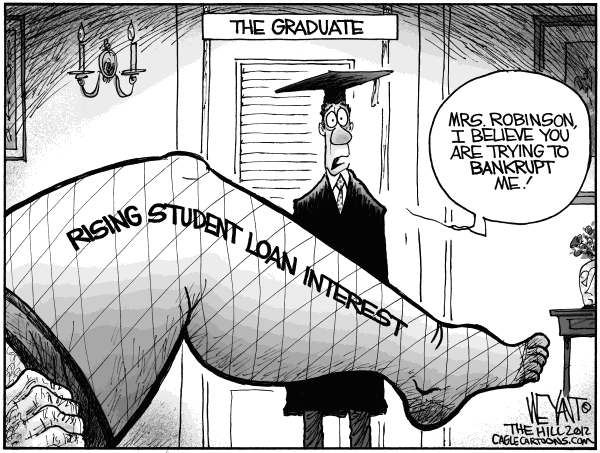 Christopher Weyant - The Hill - The Graduate - English - student, loan, loans, graduate, interest rates, Congress, debt, Mrs Robinson, Stafford loans, double, unemployment, burden, gridlock, austerity, Pell grant, GOP