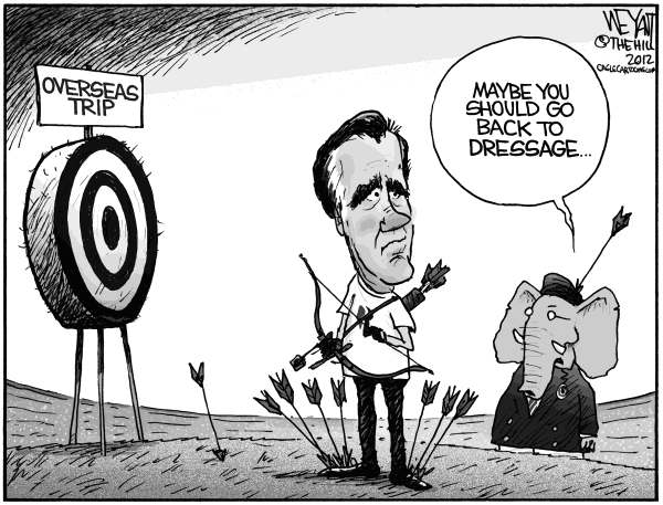 Christopher Weyant - The Hill - Mitt's  Misses - English - Mitt Romney, Olympics, archery, GOP, Republican, misses, shoot, foot, gaffe, Europe, trip, overseas, foreign policy, fiasco, Israel, Palestine, Poland, United Kingdom,