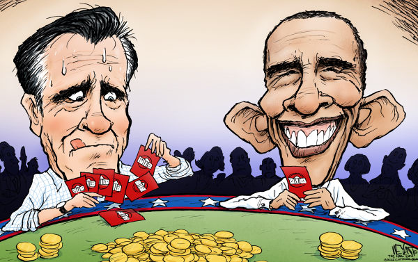 Christopher Weyant - The Hill - Pokerface - English - President, Barack Obama, Mitt Romney, GOP, Republican, Democrat, 2012, election, Paul Ryan, race, poker, cards, winning hand, gamble,