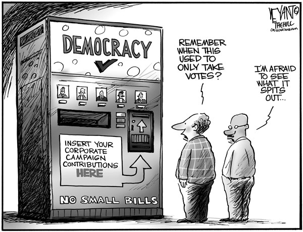 Christopher Weyant - The Hill - Vending Democracy - English - vending machine, democracy, election, machine, superPAC, money, campaign contributions, GOP, Democrats, Republicans, votes, voting, Citizens United