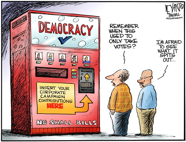 Christopher Weyant - The Hill - Vending Democracy - English - 		vending machine,democracy,election,machine,superPAC,money,campaign contributions,GOP,Democrats,Republicans,votes,voting,Citizens United