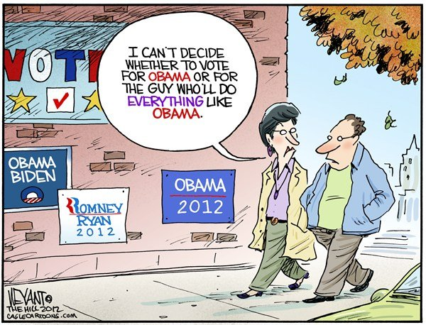 Christopher Weyant - The Hill - The Undecided Voter - English - undecided, voter, 2012, Obama, Romney, Ryan, Biden, president, election, october, debate, swing states