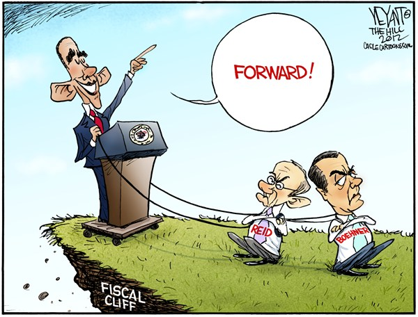 Christopher Weyant - The Hill - Forward - English - Barack Obama, President, election, 2012, Boehner, Reid, Senate, House of Representatives, Congress, divided, gridlock, GOP, Democrats, Republican, Forward, slogan