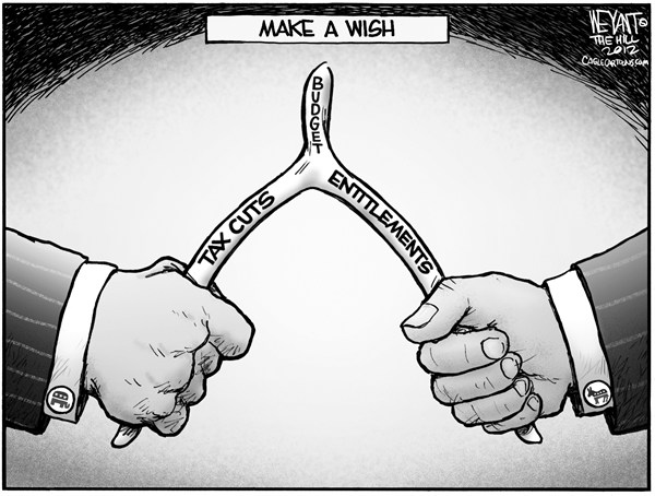 Christopher Weyant - The Hill - Make A Wish - English - wishbone, Thanksgiving, Congress, President, Democrat, Republican, GOP, pull, tax cuts, entitlements, fiscal cliff, deadline, gridlock, Obama, budget, Boehner, Reid,