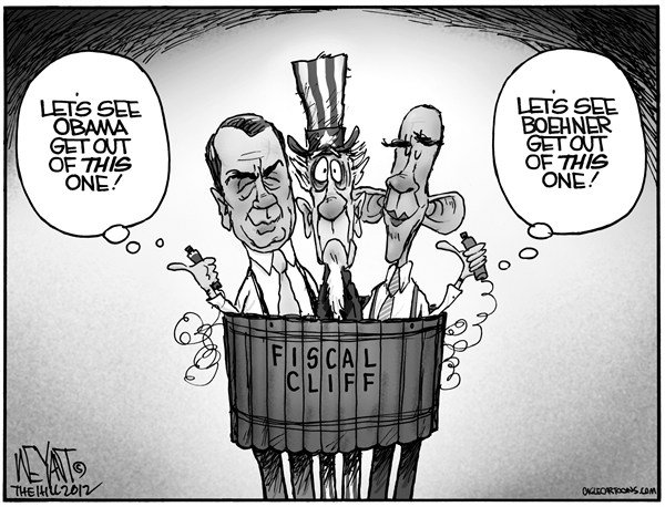 Christopher Weyant - The Hill - Fiscal Bomber - English - Boehner, Speaker, Obama, President, bomb, fiscal cliff, suicide, Uncle Sam, compromise, gridlock, Congress, White House, sequestration, right wing,