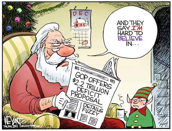 Santa Disbelief © Christopher Weyant,The Hill,GOP,Republican,offer,Congress,counter,budget,deficit,debt,proposal,sequestration,White House,Obama,Democrats,Santa Claus,elf,belief,Christmas, fiscal cliff, santa 2012