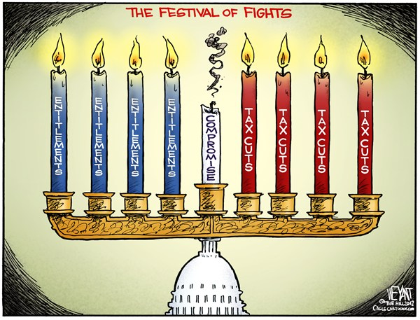Christopher Weyant - The Hill - Festival of Fights - English - Hanukkah, Chanukkah, Festival of Lights, menorah, Congress, Boehner, Obama, fiscal cliff, entitlements, tax cuts, Bush, top 2, debt, deficit,