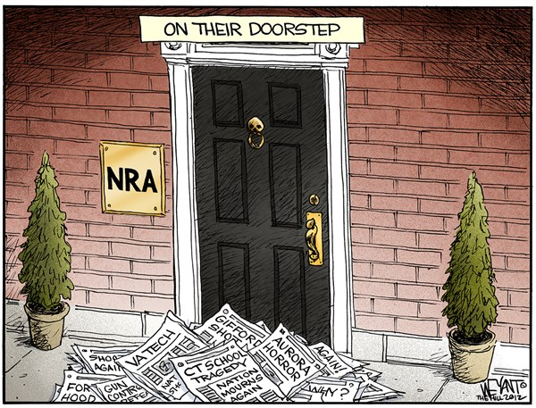 Christopher Weyant - The Hill - On the Doorstep - English - NRA,National Rifle Association,shooting,Connecticut,children,murder,massacre,America,gun control,evil,Newtown,Adam Lanza,Brady bill,Obama,tragedy,connecticut shooting,gun debate 2012,school violence