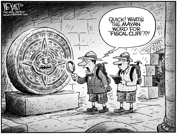 Christopher Weyant - The Hill - Mayan Fiscal Cliff - English - Mayan calendar, fiscal cliff, end of the world, budget, debt, deficit, Obama, President, Congress, Boehner, Democrats, Republicans, GOP, sequestration