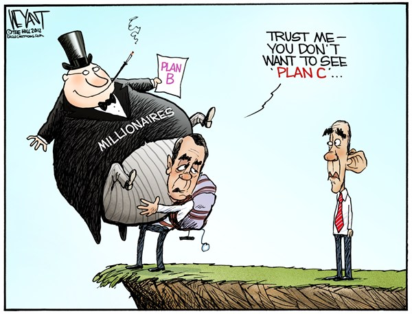 Christopher Weyant - The Hill - Boehner's Plan B - English - Boehner, Obama, President, House of Representatives, Congress, Plan B, negotiations, deficit, debt, entitlements, tax cuts, Bush, revenue fiscal clif
