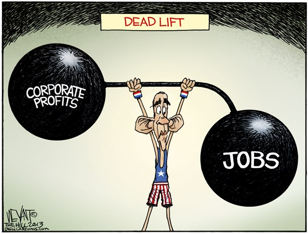 Christopher Weyant - The Hill - Dead Lift - English - Obama, weights, corporate profits, economy, wall street, jobs, unemployment, gap, growth, dow jones