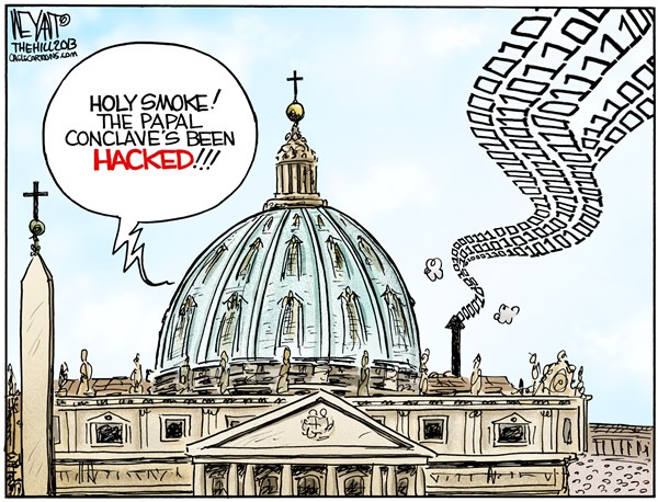 Christopher Weyant - The Hill - Papal Hack COLOR - English - Pope, Vatican, smoke, hackers, cyberattack, Michelle Obama, China, Russia,