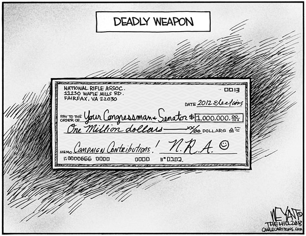 Christopher Weyant - The Hill - Deadly Weapon - English - weapon, NRA, National Rifle Association, Congress, Senate, weapons ban, gun control, Newtown, Connecticut, assault rifles, massacre, campaign contributions,
