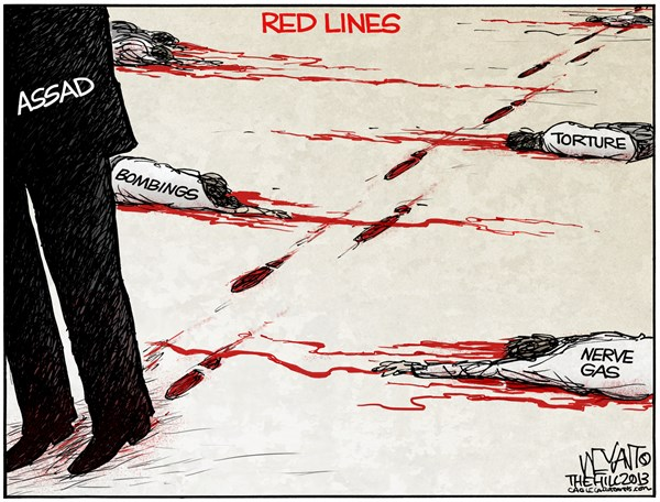 Red Lines © Christopher Weyant,The Hill,Assad, Syria, red line, US, Arab spring, war, Obama, chemical weapons, nerve gas