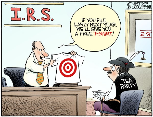 Tax Bonus © Christopher Weyant,The Hill,IRS, Internal Revenue Service, audit, tax, Tea Party, conservatives